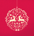 Merry christmas happy new year ornament ball deer vector image vector image