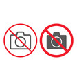 no camera line and glyph icon prohibition vector image vector image