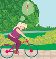overweight woman ride on bike vector image