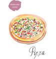 pizza watercolor vector image vector image