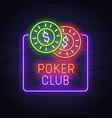 poker neon sign neon sign casino logo emblem vector image