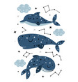 poster with celestial whale cachalot and dolphin vector image