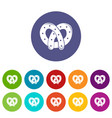 pretzel icons set color vector image vector image