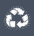 recycle icon on dark background vector image vector image