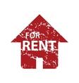 Red grunge for rent logo vector image