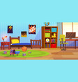 room boy childrens interior bedroom kid child boy vector image