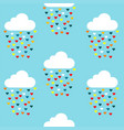 seamless pattern with clouds and colored hearts vector image vector image