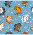 seamless pattern with pony heads and flowers blue vector image vector image
