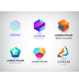 set abstract geometric 3d logos shapes vector image vector image