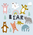 set grizzly bearscreative scandinavian style vector image vector image