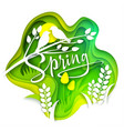 spring layered paper art style vector image