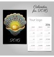 Stylish black calendar with shell with a pearl vector image vector image