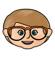 cute little boy head with glasses character vector image
