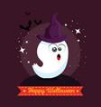 cute ghost happy halloween cartoon vector image