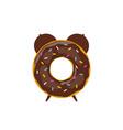 alarm clock donut breakfast time vector image vector image
