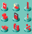 algebra color isometric icons vector image vector image