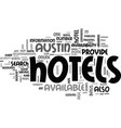 austin hotels text word cloud concept vector image vector image