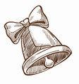 bell with ribbon bow christmas symbol monochrome vector image