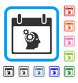 brain gears calendar day framed icon vector image