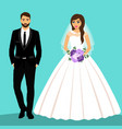 bride and groom couple wedding card with the vector image