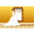 Bride in front of Mirror vector image
