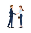 business man and business woman handshake making vector image