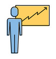 businessman presentation board financial arrow vector image