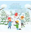 children making the snowman on the background of vector image