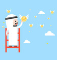 cute arab saudi businessman step on ladder to vector image