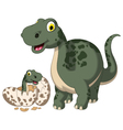 cute dinosaur cartoon with her baby vector image vector image