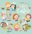 cute little children with easter theme happy vector image vector image