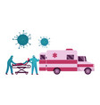 doctor characters push bed with sick man in face vector image
