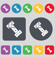 domino icon sign A set of 12 colored buttons Flat vector image vector image