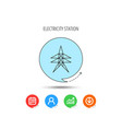 electricity station icon power tower sign vector image vector image