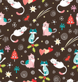 festive pattern with cats vector image vector image