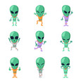 funny cartoon aliens green humanoid vector image