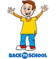 happy boy back to school cartoon vector image vector image