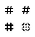 hashtag icons set vector image vector image