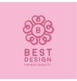 heart circle form under logo in center vector image vector image