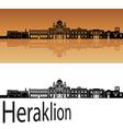 Heraklion skyline in orange vector image vector image