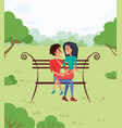 lovers in park couple meeting people vector image vector image