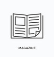magazine flat line icon outline vector image