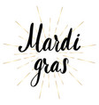 mardi gras lettering greeting card vector image