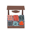 market wooden counter with fresh fish street shop vector image