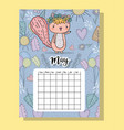 may calendar information with squirrel and flowers vector image vector image