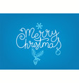 merry christmas hand drawn lettering inscription vector image