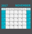 November 2017 November calendar week starts on vector image vector image