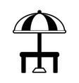 parasol or umbrella with table icon image vector image vector image
