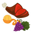 pork leg mandarin or tangerine and grapes bunch vector image vector image