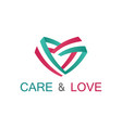 ribbon care and love logo vector image vector image
